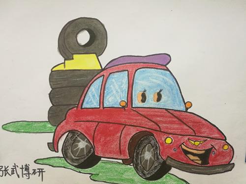 """儿童积极参与了活动,以""""汽车与未来""""为主题创作出了作文及绘画作品."""